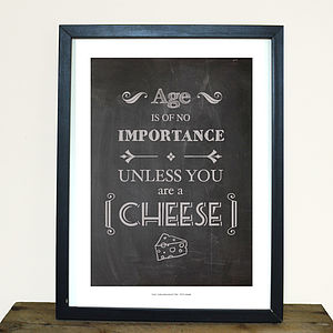 'Cheese' Chalkboard Style Print - prints under £25