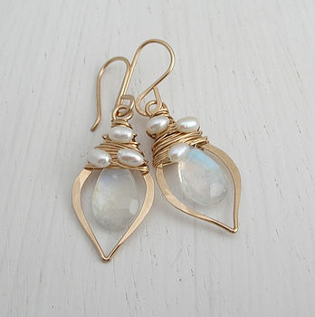 Moonstone And Pearl Earrings