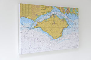 Nautical Charts On Canvas Isle Of Wight 30x40' - canvas prints & art