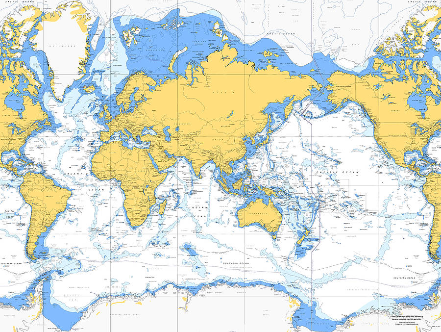 Nautical chart of the world on canvas 30x40 by living by the