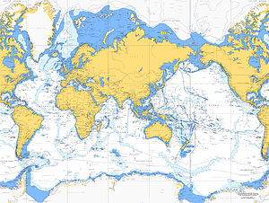 Nautical Chart Of The World On Canvas 30x40' - canvas prints & art