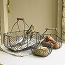 Set Of Three Chicken Wire Trugs