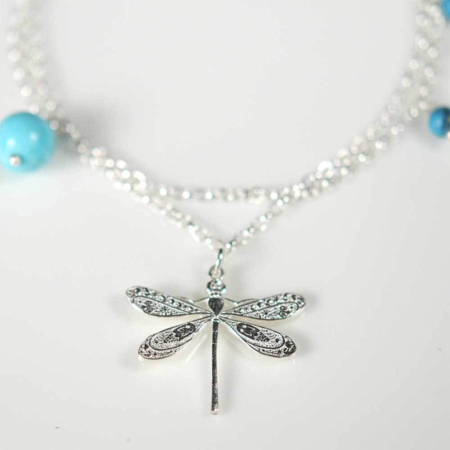 Silver Dragonfly Bracelet With Turquoise By Victoria Jill