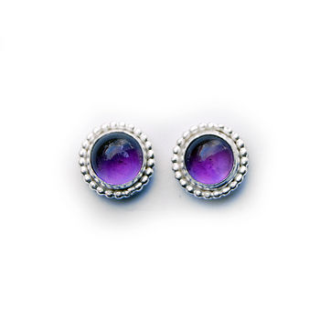 Beaded Amethyst Stud Earrings
