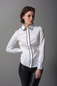 Ambra Double Collar Fitted Shirt White