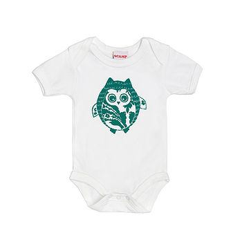 Green Hootie McTootie Screen Printed Babygrow