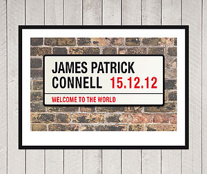 Personalised New Baby London Street Sign