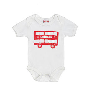 London Bus Screen Printed Babygrow - shop by price