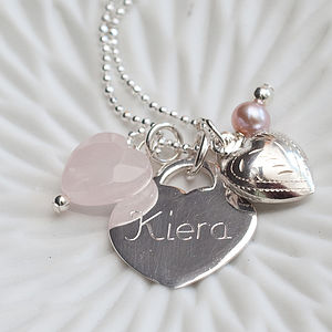 Personalised Sterling Silver And Vintage Rose Necklace