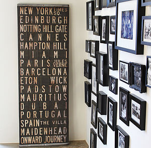 Bespoke Reclaimed Wood Destinations Blind - personalised