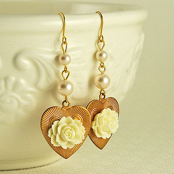 Floral Heart Earrings With Swarovski Pearls