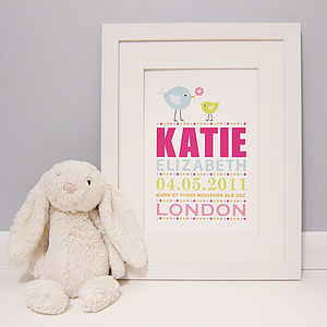Personalised Little Birds Birth Print