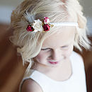 cotton and silk flower girl dress with red, pink and white flowers