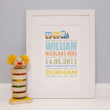 Personalised Train Birth Details Print