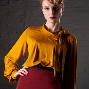 Pussy Bow Jersey Blouse 'Galiana' - blouses & shirts
