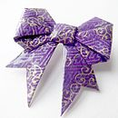 Swirls Washi Paper Origami Bow Brooch