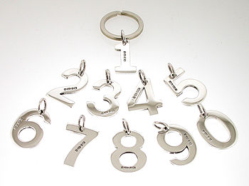 Sterling Silver Number Key Ring