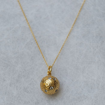 Gold Ball And Zircon Pendant Necklace