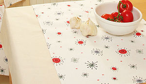Starburst Christmas Oilcloth Tablecloth - table cloths & runners