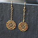 Gold Filigree Flower Disc Chain Necklace