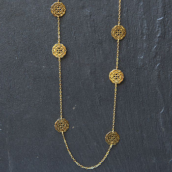 Gold Filigree Flower Necklace