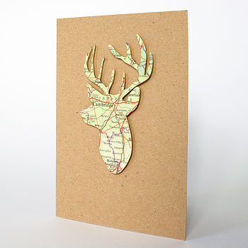 Vintage Map Stag's Head Card
