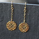 Filigree Gold Flower Chain Earrings