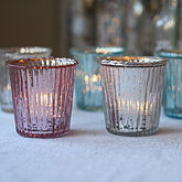Ribbed Mercury Glass Tea Light Holder - christmas