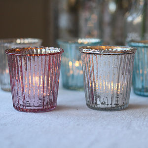 Ribbed Mercury Glass Tea Light Holder - table decoration