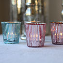 Ribbed Mercury Glass Tea Light Holder