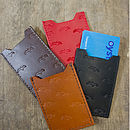 Bird Embossed Leather Travel Card Holder