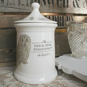Personalised Ceramic Jar With Owl Design - storage & organisers