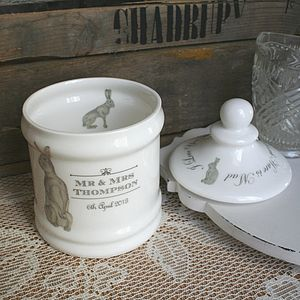 Personalised Ceramic Jar With Hare Design - crockery & chinaware