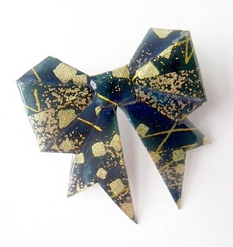 Midnight Washi Paper Origami Bow Brooch