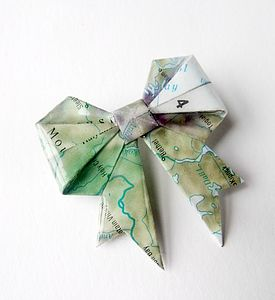 Vintage Map Origami Bow Brooch