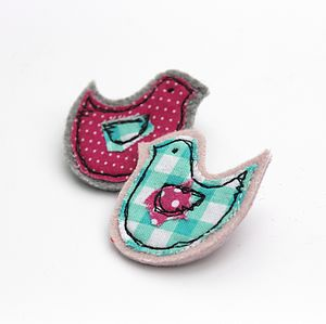 Embroidered Bird Brooch - pins & brooches