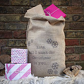 Personalised Message Christmas Sack - christmas decorations