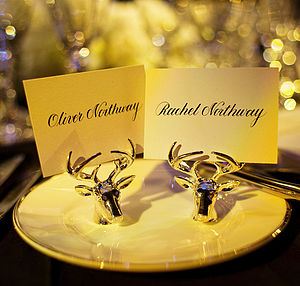 Silver Plated Stag Place Card Settings - place card holders