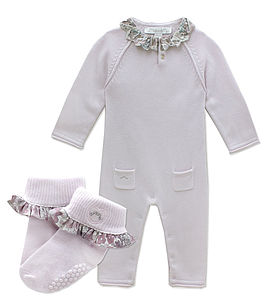 French Design Liberty Romper And Socks - babygrows