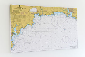 Nautical Chart On Canvas Falmouth To Plymouth 30x40'