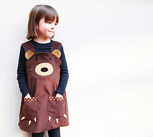Teddy Bear Girls Play Dress - woodland trend