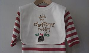 I Want My Christmas Pudding Bib