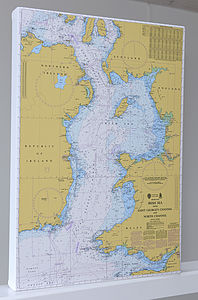 Nautical Chart On Canvas The Irish Sea 30x40' - canvas prints & art