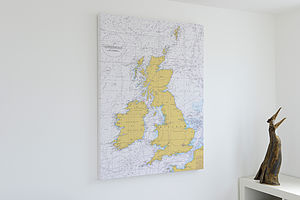 Nautical Chart On Canvas Of The British Isles 30x40'