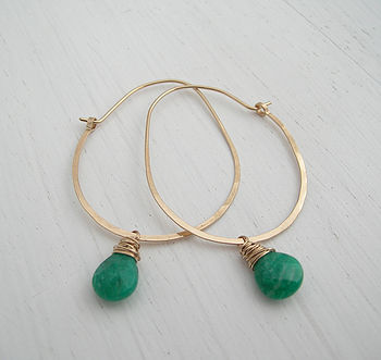 Hoop Earrings With Russian Amazonite