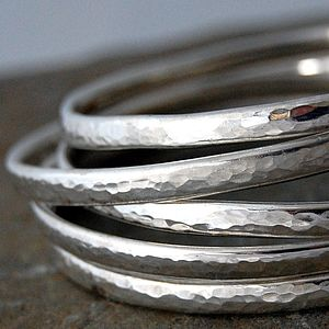 Simple Handmade Hammered Silver Bangle - bracelets & bangles