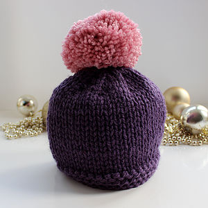 Chunky Beanie Hat With Large Pompom