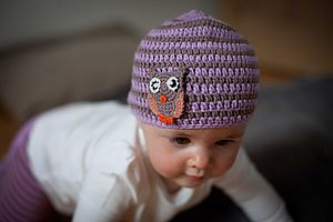 Owl Striped Crochet Hat