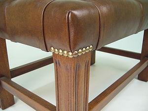 Leather Footstool - furniture