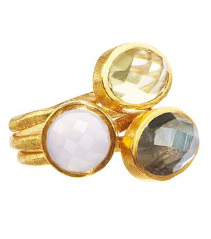 Gold Stacking Rings Labradorite